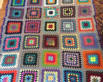 Traditional Granny Square Afghan in Fun Colors with a Light Gray Border