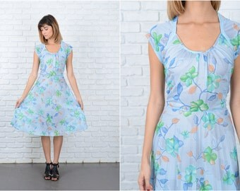 Vintage 70s Blue Boho Dress Accordion Pleated Floral Print Sheer Medium M 8910