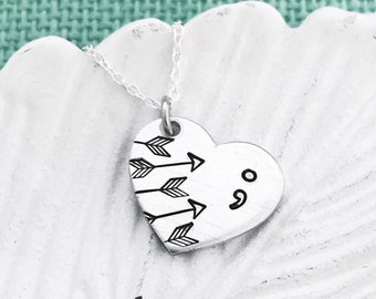 Hand Stamped ; heart with arrows by Eight9 Designs - Because my story isn't over yet