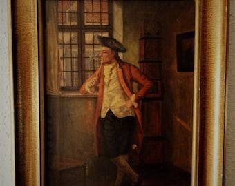 Sale Antique Portrait Oil Painting Art O/C Colonial Gentleman Interior Scene European Genre Artist Bernhorster