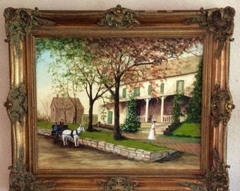 Sale Antique Vintage Oil Painting French Victorian Estate Scene O/C Art Signed Framed Home Decor