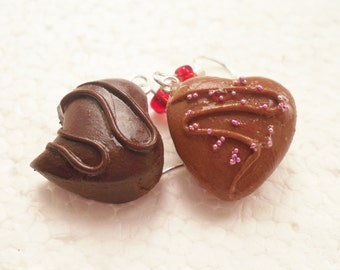 Belgian Chocolate Heart Earrings. Polymer Clay.