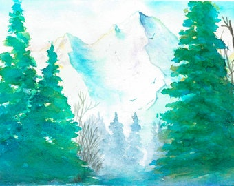 Watercolor Print, Walking through the Woods 3, Wall Decor