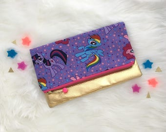 My Little Pony fold over clutch, zipper bag
