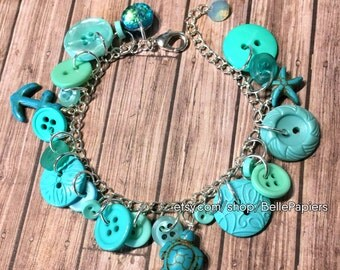 Button Bracelet Button Charm Bracelet Vintage Buttons Button and Swarovski Bracelet Colorful Charm Button Bracelet Customizable Jewelry
