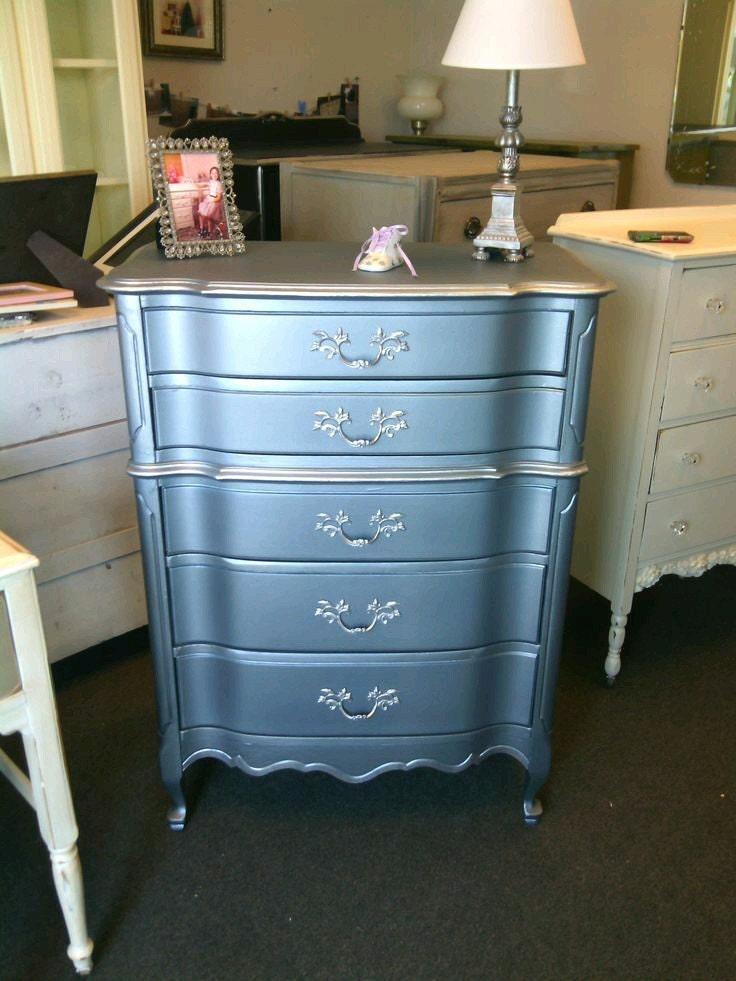 blue metallic dresser, custom painted