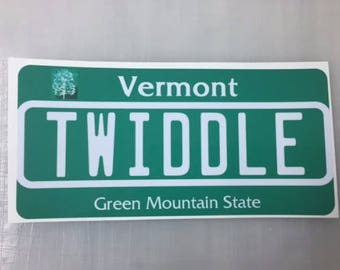 Twiddle Vermont License Plate Sticker