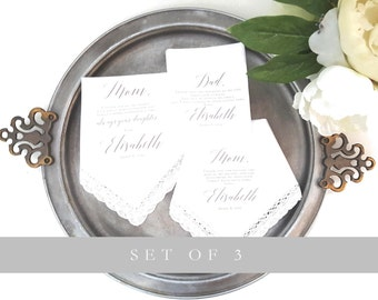 Set of 3 Wedding Handkerchiefs. Mother of the Bride, Father of the Bride and Mother in Law printed handkerchief.