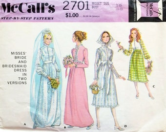 1970s Boho Bride's and Bridesmaid HIgh Waisted Dresses in Two Variations and Scarf - Vintage McCalls Sewing Pattern 2701 - 38 Bust - UNUSED