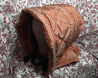 Brick Red and Tan Check Silk Taffeta Winter Bonnet  - Civil War Era Winter Hood  by Anna Worden Bauersmith