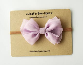 Chiffon Bow in Lt.Orchid- Headband Nylon Skinny Headband or Hair Clip
