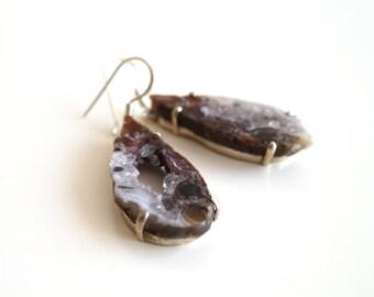 Sliced Raw Geode Earrings. Natural Druzy Earrings. 925 Sterling Silver Earrings. Mother's day gift.