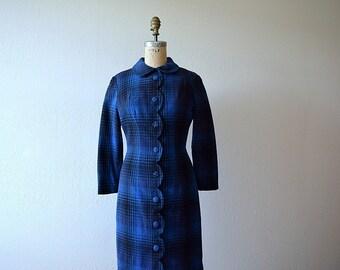 Plaid wool dress . vintage 1960s dress . fall fashion
