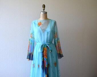 1960s 1970s dress . vintage floral print chiffon dress