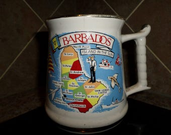 "Vintage Barbados Mug Prince William 22 Karat Made in England Stein Islands Colorful Souvinere Cup 4"" tall Map"