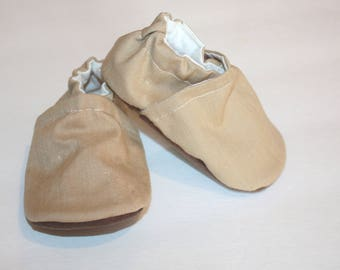 tan linen soft sole baby shoes tan baby booties classic linen baby shoes Christining shoes baptism vegan shoes indoor shoes gender neutral