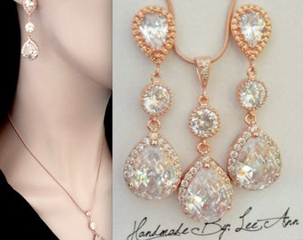 Rose gold jewelry set, Brides jewelry set, Rose gold cubic zirconias, Teardrops, Wedding jewelry set, Rose gold over sterling posts- LUX,MIA