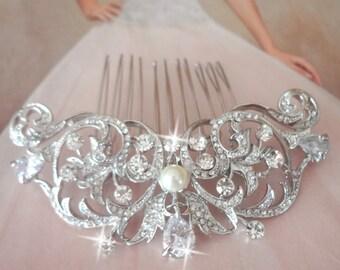 Brides hair comb, Teardrop, Hair accessories, Crystal hair comb, Swarovski pearls, Hair Jewelry, Wedding accessories, Hair comb for a bride