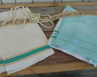 Retro Pretty Hand Towel Set - Vintage Collection of Tea Towel Set, Shades of Green Linen Towels, Beach Chic Striped Towels, Bright Decor