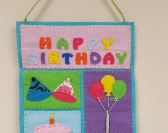 Happy Birthday Embroidered Felt Wall Hanging