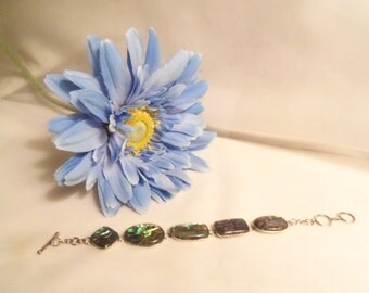 Sale- Shining Women's Vintage Hallmarked Blue Green STERLING Silver 925 & ABALONE Shell LINK Bracelet- Birthday Gift Her Mom Mother Teen