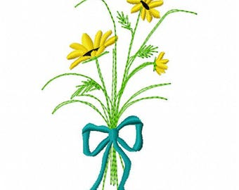 Bouquet of Flowers Embroidery Design - Instant Download
