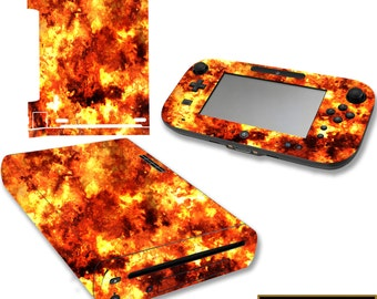 Wii U Flame Skin Nintendo Wii U Decal Sticker Console And Gamepad Fire Skin Cover VWAQ-WGC3