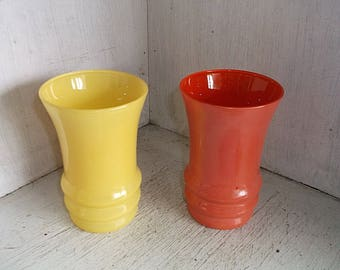 2 Vintage Anchor Hocking RAINBOW Tumblers Drinking Glasses Yellow Peach