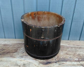 Antique Wooden Bucket, Blue Wooden Bucket - Wooden Planter - Ice Cream Pucket - Primitive Decor