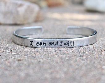 Mantra Bangle Cuff Bracelet - I can and I will - Adjustable Cuff Mantra Band - Motivational Bangle - Inspirational Bangle - I can and I will