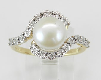 Diamond and Pearl Bypass Engagement Ring Promise Ring Size 7 June Birthstone 14K Yellow Gold