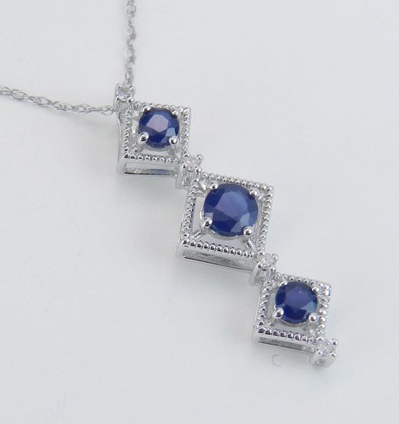 "Sapphire and Diamond Past Present Future Pendant Necklace White Gold 18"" September Birthday"