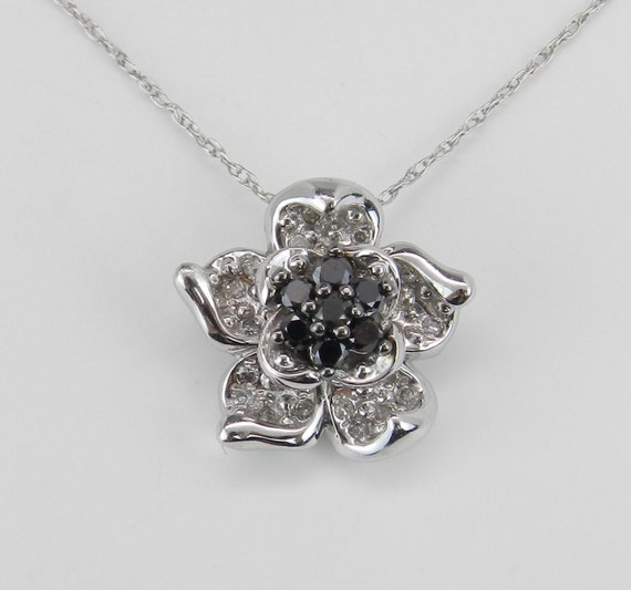 "White and Black Diamond Cluster Flower Pendant Necklace White Gold 18"" Chain"