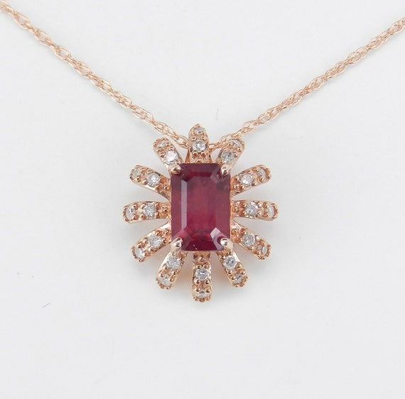 "Ruby and Diamond Halo Pendant 14K Rose Gold Necklace 18"" Chain July Birthstone"