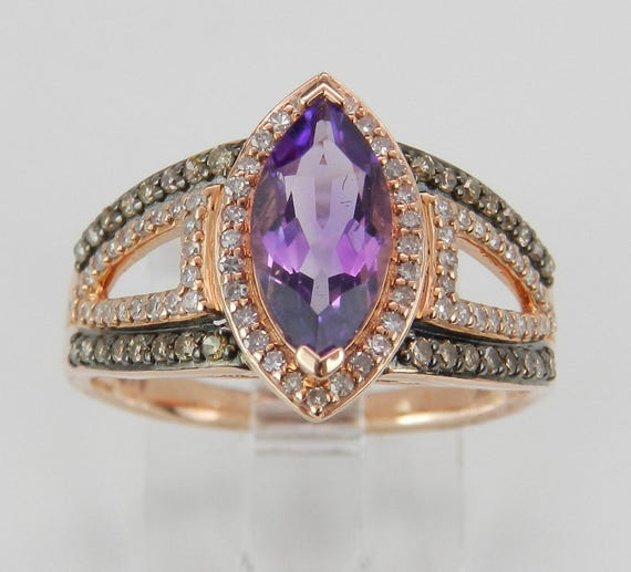 Amethyst and Cognac Diamond Halo Engagement Ring 14K Rose Gold Size 7 February Gemstone