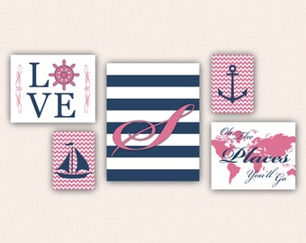 Nautical Monogram Nursery Print Set - Navy & Rose Pink Anchor Sail Boat Love World Map, Oh the Places You'll Go on Chevrons, Stripes (5002)