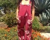 Vintage Indian Cotton Overalls//Vintage Indian Cotton Jumper//Handmade Overalls
