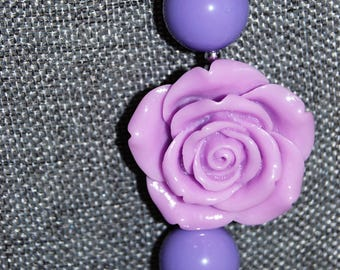 Purple flower chunky bead necklace