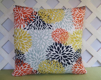 Floral Pillow Cover in Navy Orange Yellow Light Blue / Navy Orange Pillow / Accent Pillow / 18 x 18 Pillow / Decorative Pillow