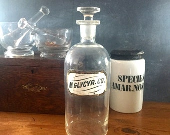 Antique English apothecary  Bottle with  original label under glass