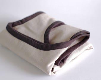 Organic Cotton Shopping Bag / Market Bag / Eco-bag / Reusable Grocery Bag / Sand with Black Trim