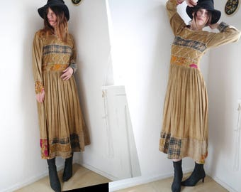 Vintage Boho Dress patchwork Dress Bohemian maxi dress long sleeve embroidered dress