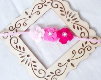 Pink Felt Flower Crown - Flower Headband - Ombre Gradient