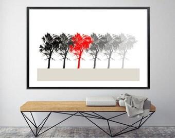 Large MINIMALIST Print, Large botanical print Scandinavial art Giclee Print up to 40X60, tree print, nature prints by Duealberi