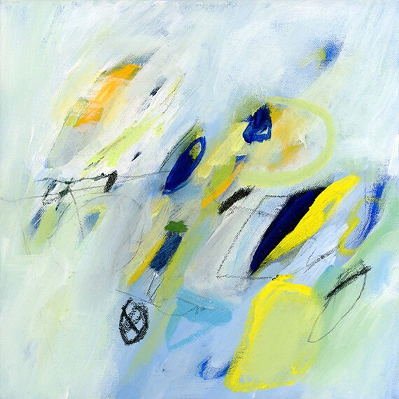 Light Blue Abstract Painting with yellow Acrylic by DUEALBERI