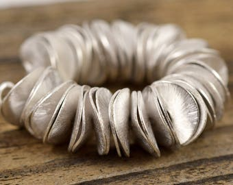 15mm Silver Pringles - Silver Plated Copper - Wavy Round Disk - 4 Inch Strand