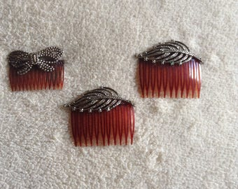 1960's Hair accessories-Feathers-Tortoise Shell-Clips-Decorative Combs
