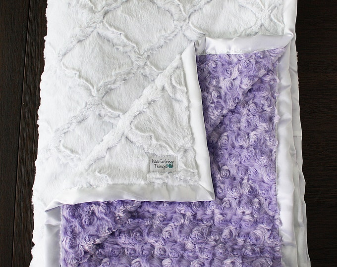 Minky Blanket, white and lavender, baby girl, baby boy, lattice blanket, soft blanket, baby gift, child minky blanket, Mothers day Purple