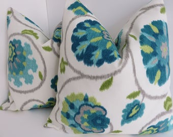 Outdoor/Indoor Pillow Covers- Turquoise Green Gray Pillow Covers- Aqua Outdoor Pillows- green Outdoor Pillow- pillow Covers- Outdoor Pillows