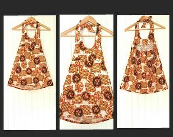 Girls VINTAGE Swinging 60's Floral Halter Neck Mini Dress / 60s Flower Power Twiggy Mini Dress/ 60s Dress/ 1960s/ Kids/  By RubyLu Retro